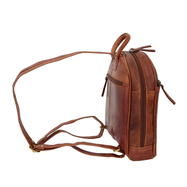 Womens Backpack Cognac LEATHER Rucksack Organiser Bag Harper Side