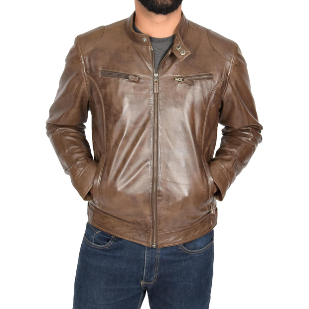 Mens Leather Jacket Biker Style Zip up Coat Bill Brown