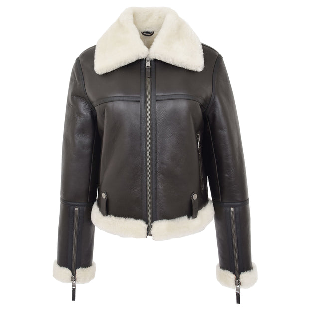 Womens Luxurious Brown Genuine Sheepskin Flying Jacket White Shearling Harriet Without Belt