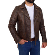 Mens Real Leather Biker Jacket Vintage Copper Rust Rub Off Slim Fit Style Max Open 3