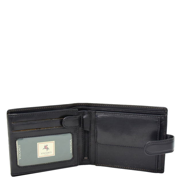 Mens Genuine Italian Leather Snap Closure Wallet AVZ5 Black Open 1