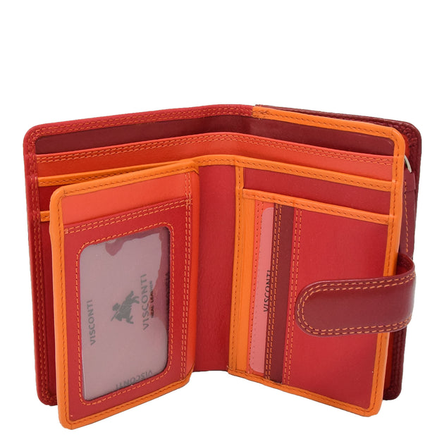 Womens Leather Booklet Evening Clutch Purse Multi Colour Wallet AVB51 Red Open 1
