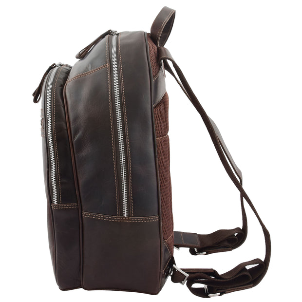 High Quality Genuine Brown Leather Backpack Large Size Work Casual Travel Bag Trek Side