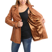 Womens Soft Leather Trench Coat Olivia Tan Lining