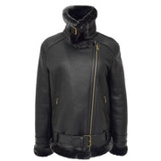 Womens Real Sheepskin Jacket Black X-Zip Aviator Belted Shearling Coat Willow Collar Up