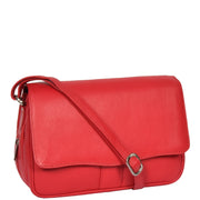 Womens Red Leather Shoulder Messenger Handbag Ada