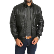 Mens Hooded Bomber Leather Jacket Seth Black zip open view