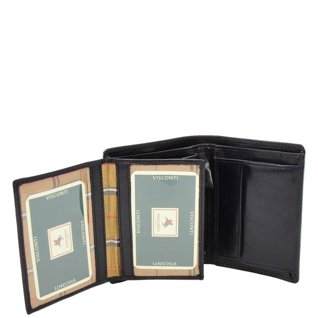 Gents Real Leather Bifold Large Wallet Cards Notes Coins Purse AVZ3 Black