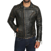 Mens Real Leather Biker Jacket Vintage Black Rub Off Slim Fit Coat Max Front 3