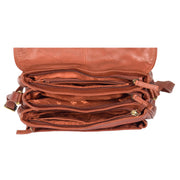 Womens Soft BROWN Leather Multi Zip Pockets Shoulder Bag A95 Top Open