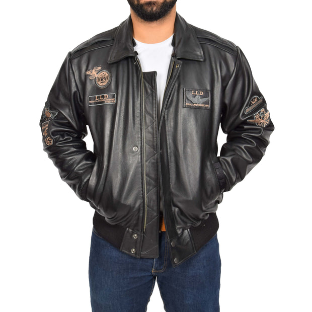 Mens Pilot Bomber Leather Jacket Spitfire Black collar off view