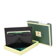 Real Leather Compact Card Wallet Small Slim Oysters Card Holder AVT1 Black With Box