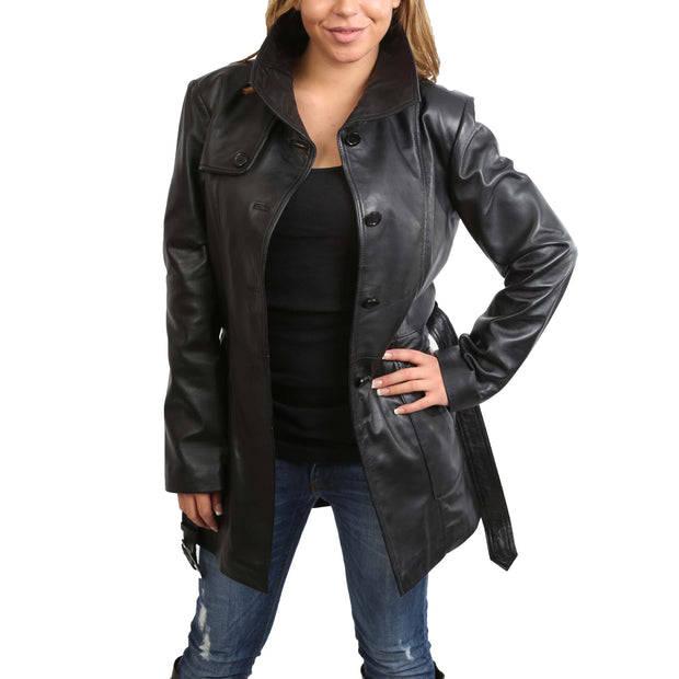 Womens Real Leather Hip Length Trench Parka Coat Alba Black Open