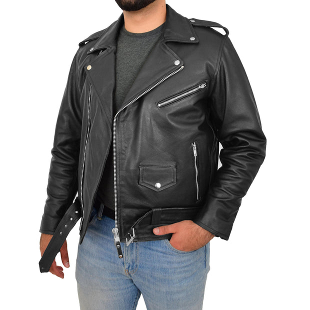Genuine Cowhide Biker Leather Jacket For Men Casual Brando Coat Rock Black Open