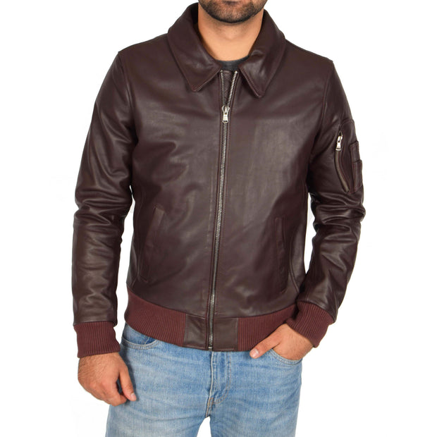 Mens Real Cowhide Bomber Leather Pilot Jacket Lance Burgundy
