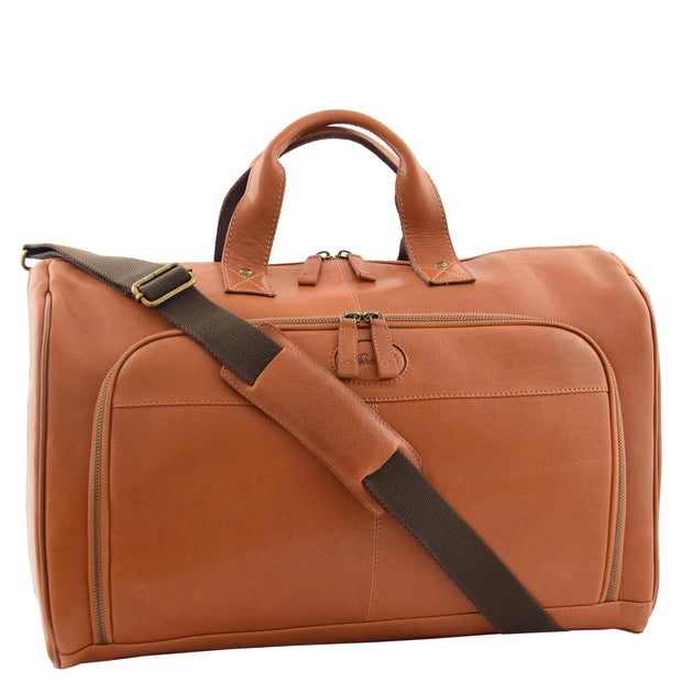 Genuine Leather Holdall Weekend Gym Business Travel Duffle Bag Ohio Tan