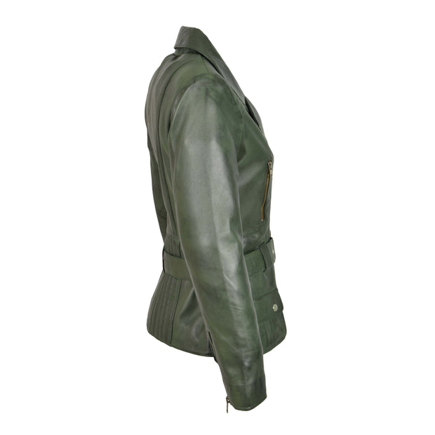 Womens Biker Leather Jacket Slim Fit Cut Hip Length Coat Coco Green Side