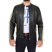 Mens Black Leather Biker Casual Contrasting Stripes Jacket Butch Open