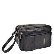Gents Real Leather Wrist Bag Clutch Travel Black Bag Mason Front
