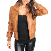 Womens Slim Fit Bomber Leather Jacket Cameron Tan Open 1