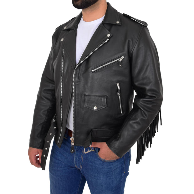 Mens Black Cowhide Biker Jacket With Leather Fringes Belt Tasselled Coat Bill Open 2