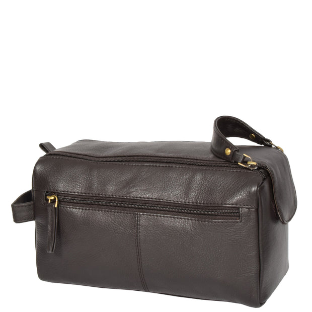 Genuine Soft Leather BROWN Travel Wash Bag A179 Back