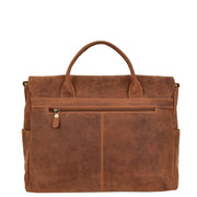 Men Briefcase Vintage Tan Hunter Leather Soft Satchel Laptop Bag Leon Back