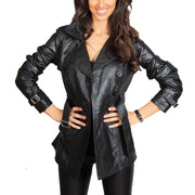 Womens Soft Leather Trench Coat Olivia Black button open