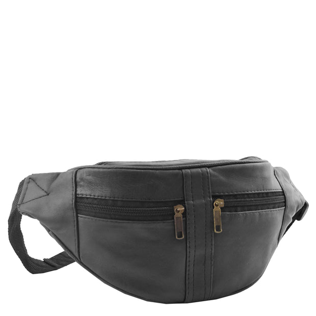Real Black Leather Bum Bag Travel Pouch Mobile Waist Belt Pack Adam Front 3