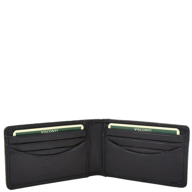 Real Leather Credit Card Holder Oyster Bus Pass ID Bifold Slim Wallet AV5 Black Open