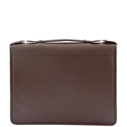 Brown Leather A4 Ring Binder File Folio Office Bag Zip Organiser Braga Front 2