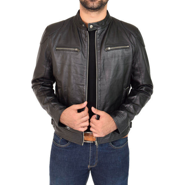 Mens Leather Jacket Biker Style Zip up Coat Bill Black Open