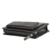 Mens Leather Wrist Bag Mobile Money Clutch A7 Black Letdown