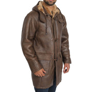 Mens Genuine Sheepskin Duffle Coat 3/4 Long Hooded Jacket Mitchel Brown Front 1