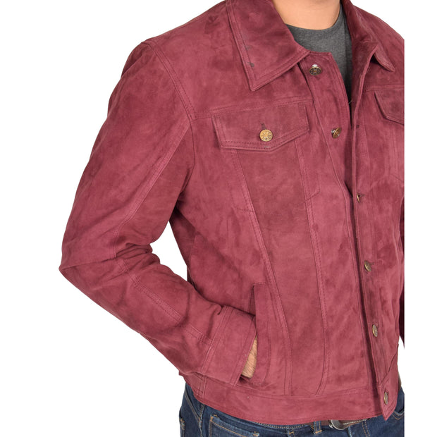 Mens Real Soft Goat Suede Trucker Denim Style Jacket Chuck Burgundy Feature