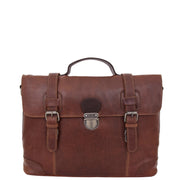 Mens Real Brown Cowhide Leather Briefcase Vintage Satchel Buck Front 1
