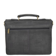Mens REAL Leather Briefcase Vintage Look Satchel Shoulder Bag A167 Navy Back