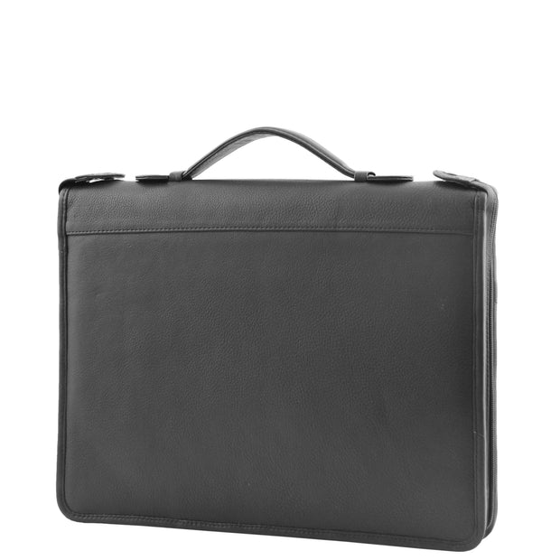 Black Leather A4 Ring Binder File Folio Office Bag Zip Organiser Braga Front 4