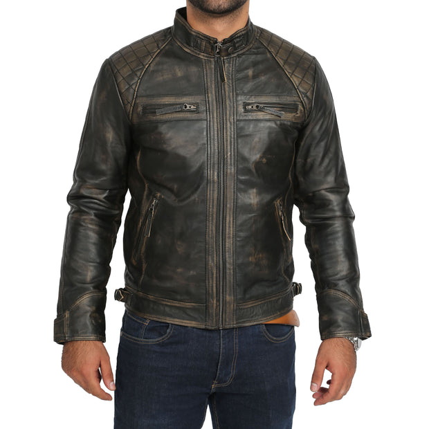 Gents Washed Biker Leather Jacket Django Rub Off Front