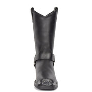 Real Leather Square Toe Eagle Design Biker Boots AEB77H Black Front