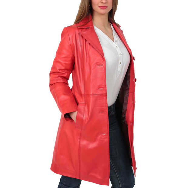 Womens 3/4 Button Fasten Leather Coat Cynthia Red Open 2