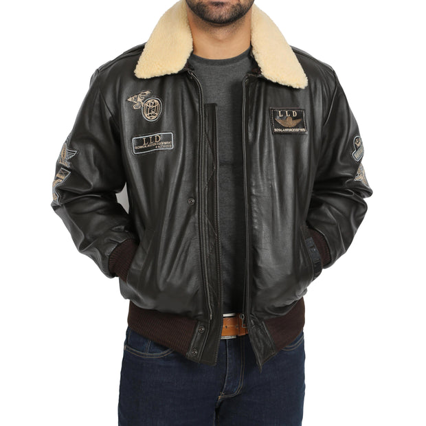 Mens Pilot Bomber Leather Jacket Spitfire Brown zip open view