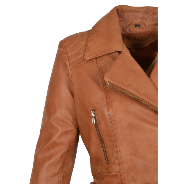 Womens Biker Leather Jacket Slim Fit Cut Hip Length Coat Coco Tan Feature