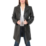 Womens 3/4 Button Fasten Leather Coat Cynthia Black button open