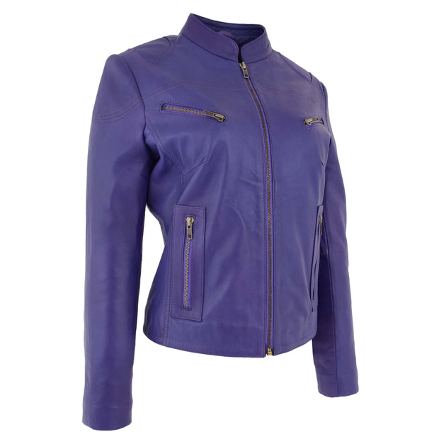 Womens Fitted Leather Biker Jacket Casual Zip Up Coat Jenny Purple 2