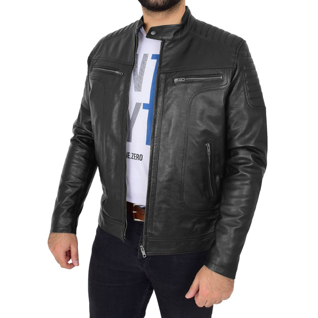 Trendy Genuine Soft Leather Biker Zipper Jacket For Men Rider Black Front 5