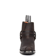 Real Leather Square Toe Cowboy Ankle Boots AR70 Brown Front