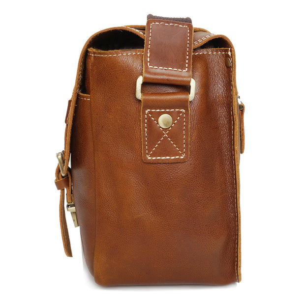 Real Leather Cross Body Shoulder Bag Multi Use Camera Organiser Bussell Tan Side