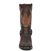 Real Leather Square Toe Cowboy Biker Boots AE33 Brown Front