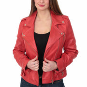 Womens Trendy Biker Leather Jacket Beyonce Red Open
